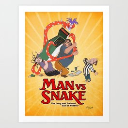 MAN VS SNAKE: The Long and Twisted Tale of Nibbler Art Print