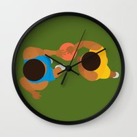 kobe Wall Clocks featuring Basketball / Geometrical portrait of the LA Laker vs the New York Knicks by In The Modern Era
