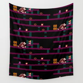 Donkey Kong Retro Arcade Gaming Design Wall Tapestry