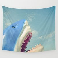 shark Wall Tapestries featuring Shark! by Cassia Beck
