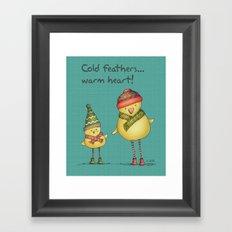 Two Chicks - teal Framed Art Print