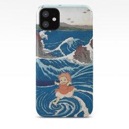 Ponyo and vintage japanese woodblock mashup iPhone Case