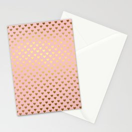 Gold and pink sparkling and shiny Hearts pattern Stationery Cards