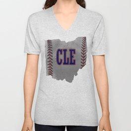 Cleveland Ohio Baseball graphic Distressed print With Co Unisex V-Neck