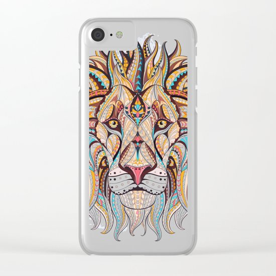 Brown Ethnic Lion Clear iPhone Case