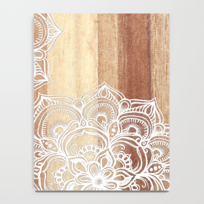 White doodles on blonde wood - neutral / nude colors Notebook