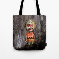 charlie brown Tote Bags featuring You're a zombie Charlie Brown by byron rempel