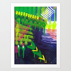 Wave green Art Print