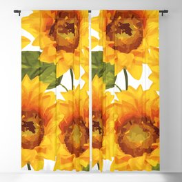 Design Five Sunflower on white Background Blackout Curtain