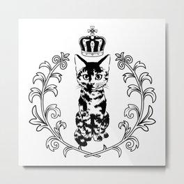 Royal tortie cat emblem Metal Print