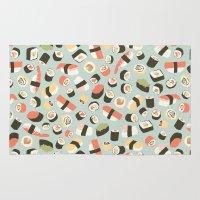 novelty Area & Throw Rugs featuring Yummy Sushi! by Eine Kleine Design Studio