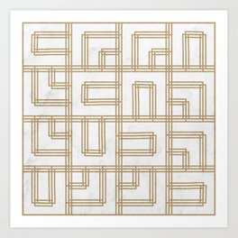 Golden Deco Lines Pattern Art Print
