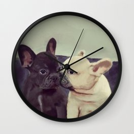 Frenchie kiss Wall Clock