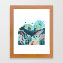 Happy Blue Whale Framed Art Print