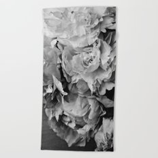 Peonies Black and White 1 Beach Towel