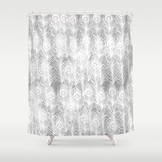 White Peacock Feathers Shower Curtain