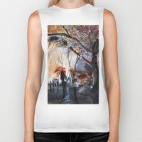 watercolor Biker Tanks featuring Autumn rain - watercolor by Nicolas Jolly