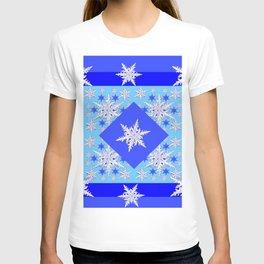 DECORATIVE BABY BLUE SNOW CRYSTALS BLUE WINTER ART T-shirt