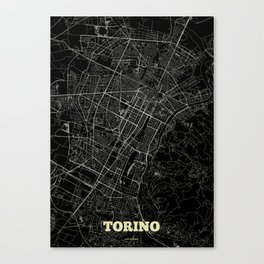 Turin Streets Map Canvas Print