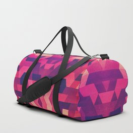 Abstract symmetric geometric triangle texture pattern design in diabolic future red Duffle Bag