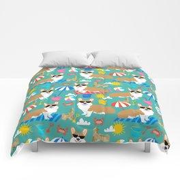 Corgi Sandcastles summer beach day print corgi beach ball sun dog pattern Comforters