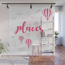 OH THE PLACES YOU'LL GO - HOT AIR BALLOON PINK Wall Mural