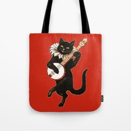 Black Cat for Halloween with Red Tote Bag