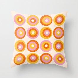 Modern Abstract Orange Pink Circles Pattern Throw Pillow