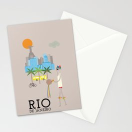 Rio - In the City - Retro Travel Poster Design Stationery Cards
