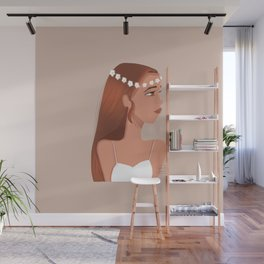Girl with a flower crown Wall Mural
