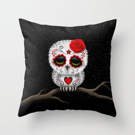Adorable Red Day of the Dead Sugar Skull Owl Throw Pillow
