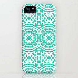Vintage style bohemian with abstract tribal flowers iPhone Case