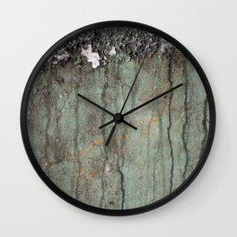 Green Dribble, Orange Splatter Wall Clock