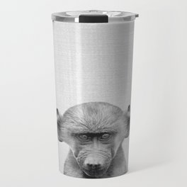 Baby Baboon - Black & White Travel Mug