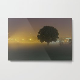 Tree in the Fog Metal Print