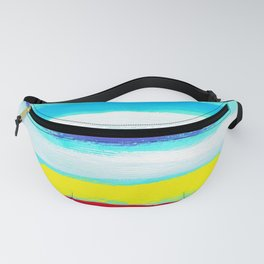 Ocean Blue Summer blue abstract painting stripes pattern beach tropical holiday california hawaii Fanny Pack