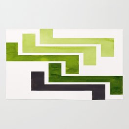Sap Green Pattern Mid-century Modern Simple Geometric Pattern Watercolor Minimalist Art Squares Rug
