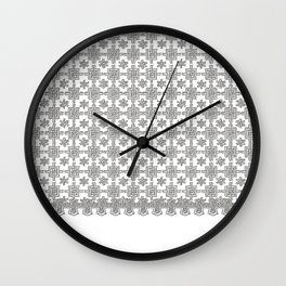 Vintage White Crochet Square Lace Pattern Wall Clock