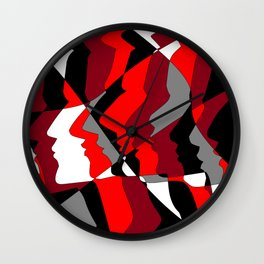 Profiles in Red, Maroon, Black, Gray and White Wall Clock