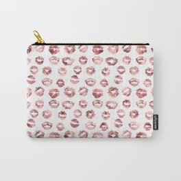 Girly Fashion Lips Rose Gold Lipstick Pattern Carry-All Pouch