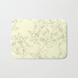 yellow line art floral pattern Bath Mat