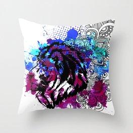Purple Lion Spirit Throw Pillow