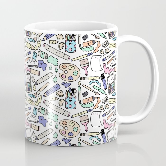 Kawaii Art Supplies Coffee Mug by kirakiradoodles