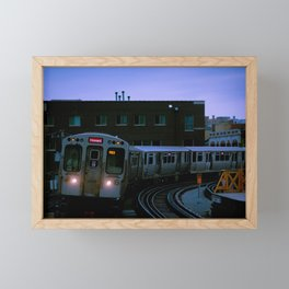 On Time El Train Chicago Train Windy City Transit Red Line L Train Framed Mini Art Print