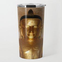 Birma Buddha head gold - Illustration Travel Mug