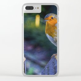 Christmas Robin. Clear iPhone Case