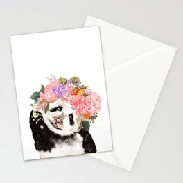 Baby Panda with Flowers Crown Stationery Cards
