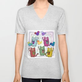 Funny colorful cats with gifts and inflatable balls in their paws Unisex V-Neck