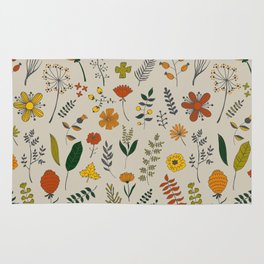 Colorful Plants and Herbs Pattern Rug