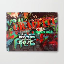 Blue teal crimson red fancy graffiti typography print Metal Print